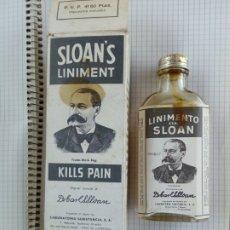 Cajas y cajitas metálicas: BOTELLA FARMACIA -LINIMENTO SLOANS'S LINIMWT - KILLS PAIN D LABORAT. CONSTANCIA PRAT D LLOBREGAT. Lote 192099791