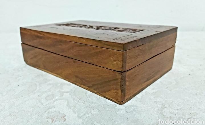 Cajas y cajitas metálicas: CAJA DE MADERA INDIA TALLADA CON INCRUSTACIONES DE LATÓN - Foto 5 - 192747327