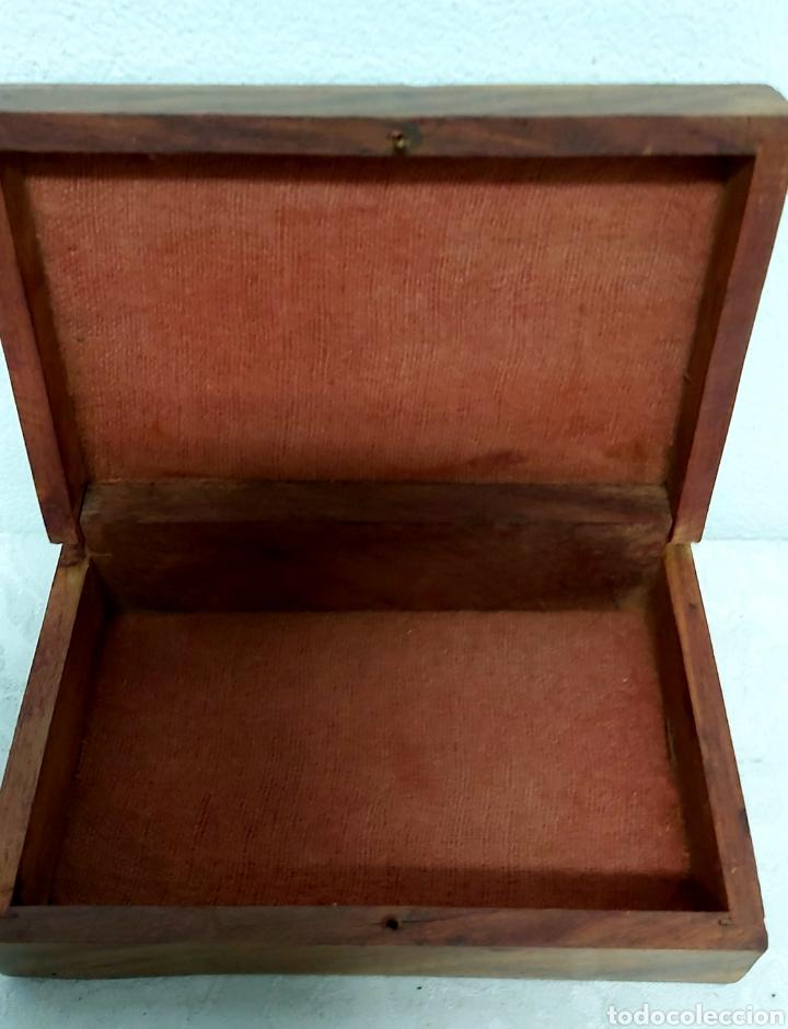 Cajas y cajitas metálicas: CAJA DE MADERA INDIA TALLADA CON INCRUSTACIONES DE LATÓN - Foto 6 - 192747327