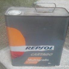 Cajas y cajitas metálicas: ANTIGUA LATA DE ACEITE - REPSOL CARTAGO - 5 LITROS - SIN ABRIR - ENVASE DE CHAPA EXTINTO. Lote 192881113
