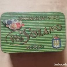 Cajas y cajitas metálicas: ANTIGUA CAJA METÁLICA DE CARAMELOS, PASTILLAS DE CAFÉ Y LECHE SOLANO. Lote 194243860