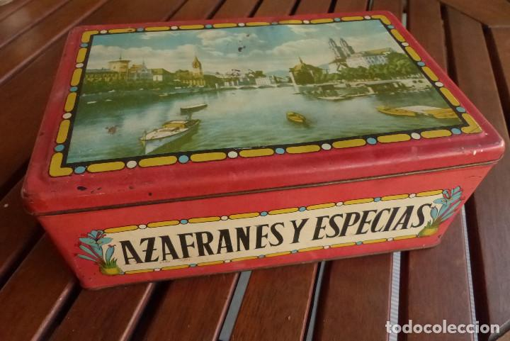 CAJA METALICA AZAFRANES Y ESPECIAS ANTIGUA (Coleccionismo - Cajas y Cajitas Metálicas)