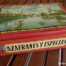 Cajas y cajitas metálicas: CAJA METALICA AZAFRANES Y ESPECIAS ANTIGUA. Lote 194254210