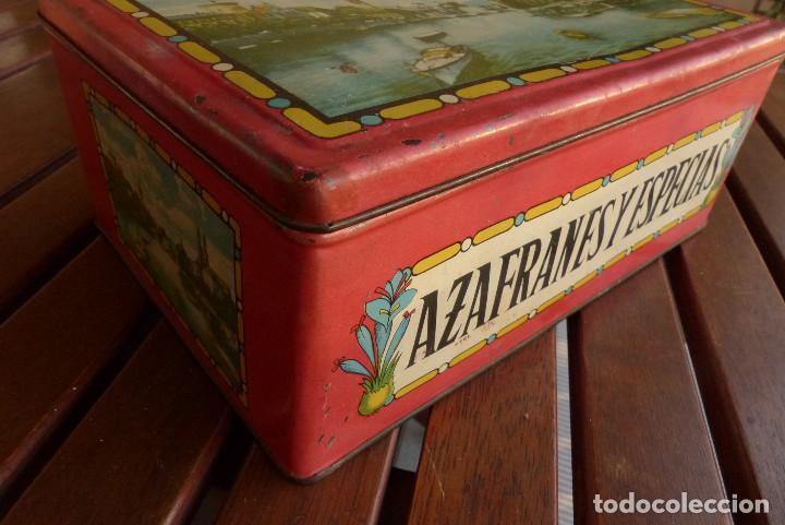 Cajas y cajitas metálicas: CAJA METALICA AZAFRANES Y ESPECIAS ANTIGUA - Foto 3 - 194254210