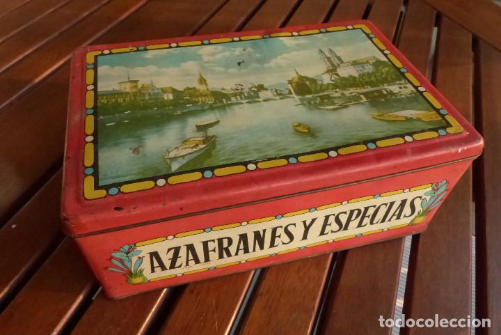 Cajas y cajitas metálicas: CAJA METALICA AZAFRANES Y ESPECIAS ANTIGUA - Foto 9 - 194254210