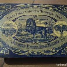 Cajas y cajitas metálicas: CAJA DE LATA GRAN FABRICA DE DULCE DE MEMBRILLO Y JALEA. VIUDA JUSTO ESTRADA HARO . Lote 194264377