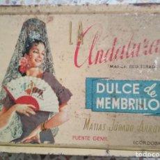 Cajas y cajitas metálicas: CAJA LATA DULCE DE MENBRILLO LA ANDALUZA. Lote 194272280