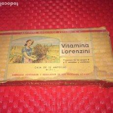 Cajas y cajitas metálicas: VITAMINA LORENZINI - INSTITUTO BIOQUÍMICO ESPAÑOL - AÑOS 50 - CAJA CON 12 AMPOLLAS - SIN USO. Lote 194291983