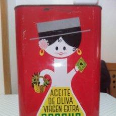 Cajas y cajitas metálicas: ANTIGUA CAJA GRANDE DE METAL DE ACEITE COOSUR DE JAÉN . Lote 194297955