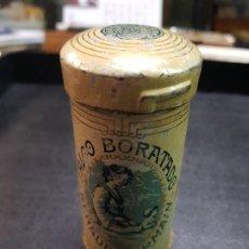 Cajas y cajitas metálicas: ANTIGUA CAJA LATA BOTE FARMACIA TALCO BORATADO RENAUD GERMAIN. Lote 194309963