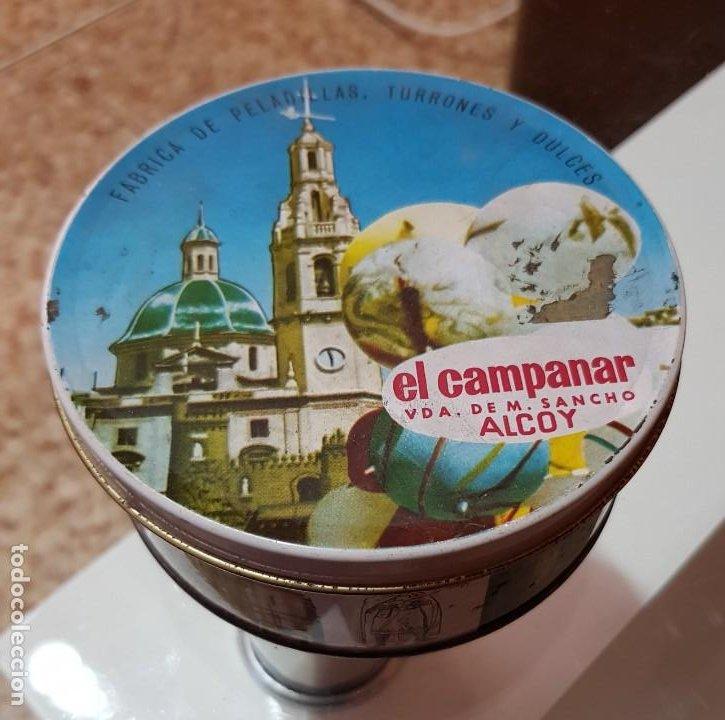 CAJA METÁLICA DULCES EL CAMPANAR - ALCOY - FIESTAS MOROS Y CRISTIANOS DE ALCOY - AÑOS 60-70 (Coleccionismo - Cajas y Cajitas Metálicas)