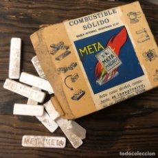Cajas y cajitas metálicas: ANTIGUA CAJA DE PASTILLAS DE COMBUSTIBLE META CON PASTILLAS EN EL INTERIOR.. Lote 194536311