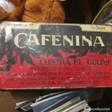 Cajas y cajitas metálicas: ANTIGUA CAJA DE HOJALATA CAFENINA CONTRA EL DOLOR. Lote 194646108