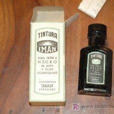 Cajas y cajitas metálicas: VIEJA BOTELLA CON CAJA DE TINTURA IMAN. Lote 194671363