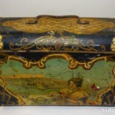 Cajas y cajitas metálicas: ANTIGUO CABAS DE HOJALATA LITOGRAFIADA G. DE ANDREIS DE BADALONA CON PUBLICIDAD. FINALES DEL XIX, . Lote 194881802