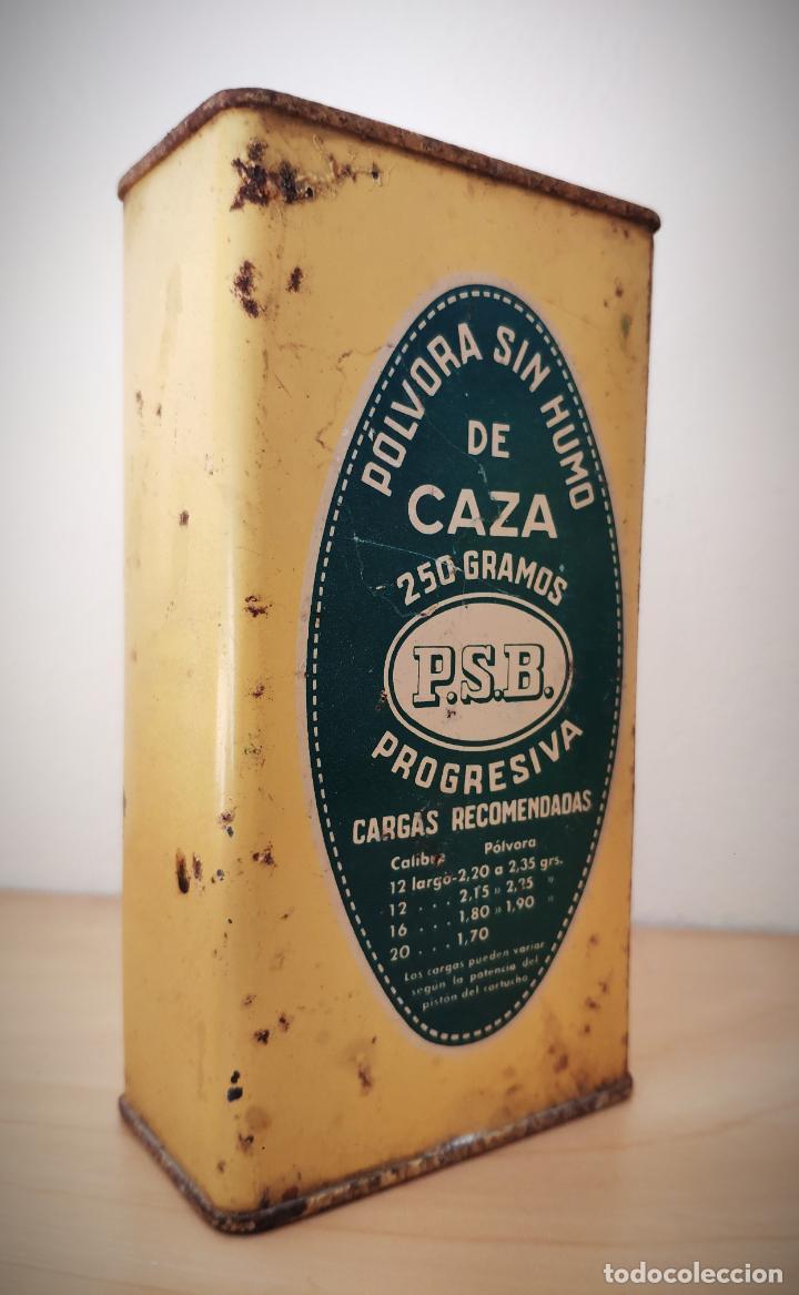 Cajas y cajitas metálicas: CAJA LATA POLVORA P. S. B. 250 GR. - UNION ESPAÑOLA DE EXPLOSIVOS LUGONES Y CAYES - ASTURIAS - Foto 2 - 194881936