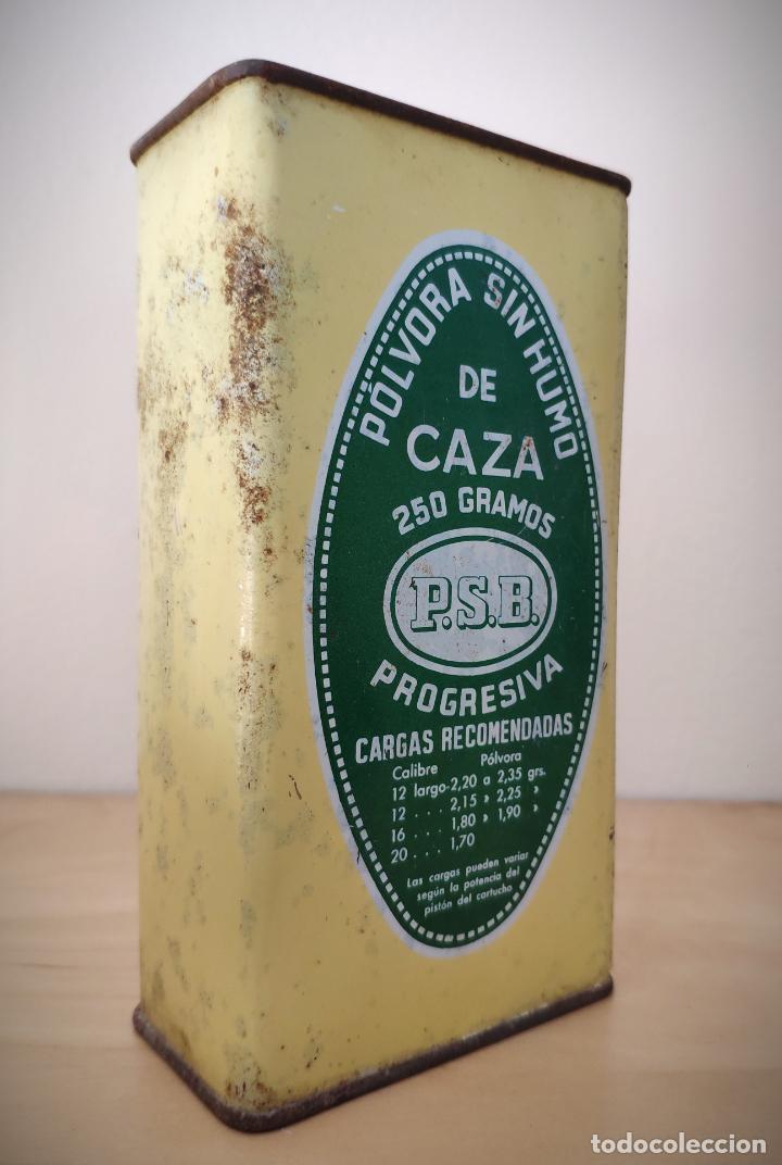 Cajas y cajitas metálicas: CAJA LATA POLVORA P. S. B. 250 GR. - UNION ESPAÑOLA DE EXPLOSIVOS LUGONES Y CAYES - ASTURIAS - Foto 2 - 194882417