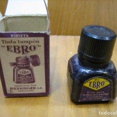 Cajas y cajitas metálicas: ANTIGUO BOTE DE TINTA TAMPON EBRO. Lote 194896977