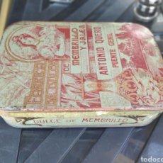 Cajas y cajitas metálicas: ANTONIO QUERO DUCE DE MEMBRILLO PUENTE GENIL AMTIGUA CAJA. Lote 195129211
