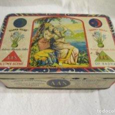 Cajas y cajitas metálicas: CAJA DE LATA LITOGRAFIADA - AZAFRAN ANTONIO ALBEROLA SELLER - NOVELDA - G.DE ANDREIS BADALONA. Lote 195180975
