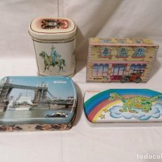 Cajas y cajitas metálicas: ANTIGUO LOTE DE 4 CAJAS DE SOLANO. Lote 195183191