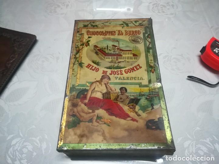 RARA LATA LITOGRAFIADA DE CHOCOLATES EL BARCO HIJO DE JOSE GOMEZ MIREN FOTOS (Coleccionismo - Cajas y Cajitas Metálicas)