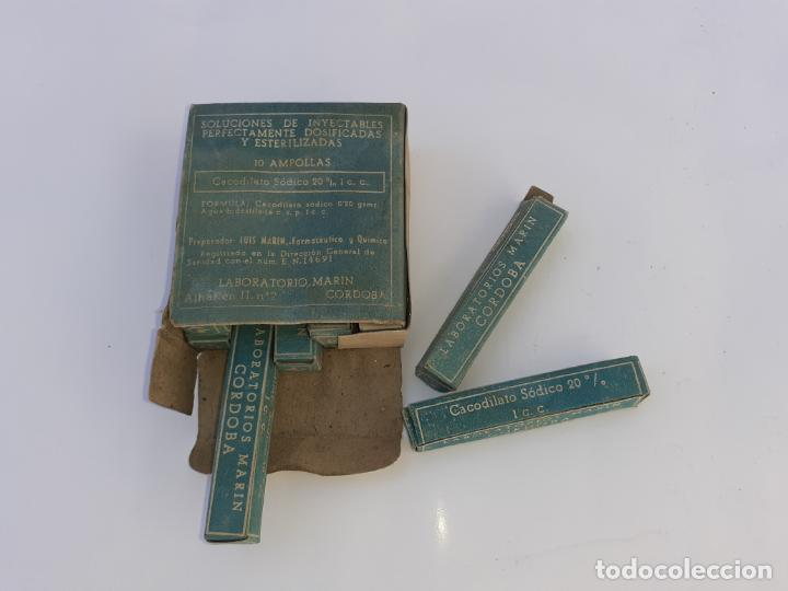CAJA DE FARMACIA AMPOLLAS CACODILATO SÓDICO LAB. MARÍN (Coleccionismo - Cajas y Cajitas Metálicas)