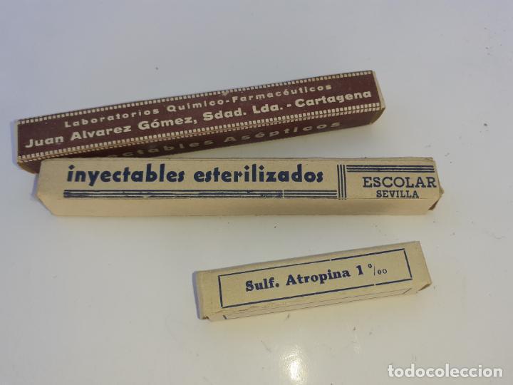 CAJA DE FARMACIA AMPOLLAS SULFATO DE ATROPINA // PARA COLECCIÓN (Coleccionismo - Cajas y Cajitas Metálicas)