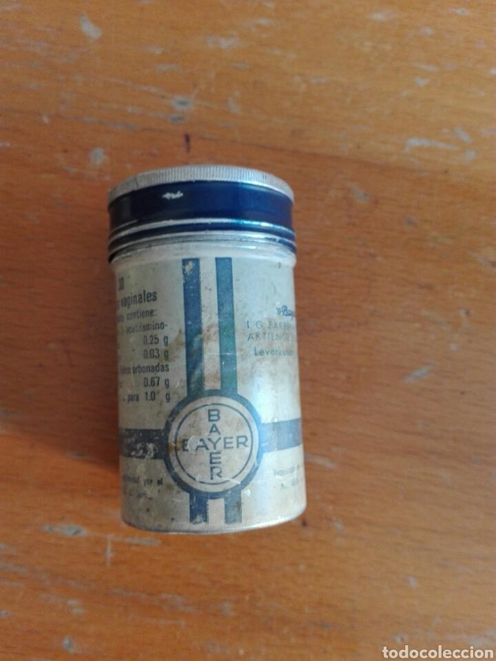 Cajas y cajitas metálicas: BOTE ALUMINIO METÁLICA BAYER TABLETAS VAGINALES - Foto 3 - 195354040