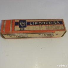 Cajas y cajitas metálicas: CAJA DE FARMACIA LIPODERMA LAB. ENERGIÓN ESCOLANO VALENCIA // SIN DESPRECINTAR. Lote 195438057