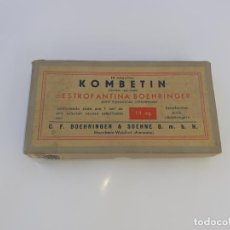 Cajas y cajitas metálicas: CAJA DE FARMACIA COMBATÍN LAB. BOHERINGER // CON CONTENIDO. Lote 195438183