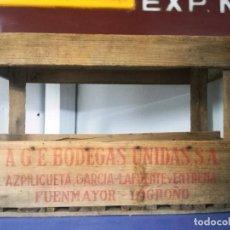 Cajas y cajitas metálicas: ANTIGUA CAJA DE MADERA PARA BOTELLAS VINO.AGE BODEGAS UNIDAS FUENMAYOR LOGROÑO.AZPILICUETA GARCIA. Lote 195532531
