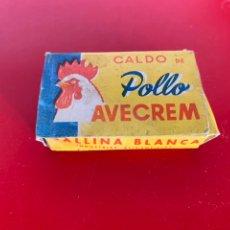 Cajas y cajitas metálicas: CALDO DE POLLO AVECREM. CAJITA 4 RACIONES. 3,25 PTS. VACÍA. Lote 197189395