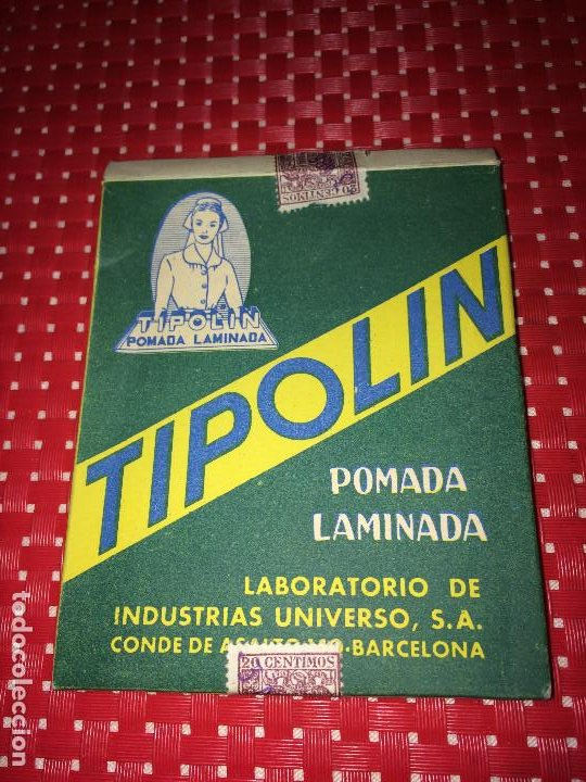 TIPOLIN POMADA LAMINADA - CAJA CON POMADA - AÑO 1958 - LABORATORIO DE IND. UNIVERSO, S. A. (Coleccionismo - Cajas y Cajitas Metálicas)