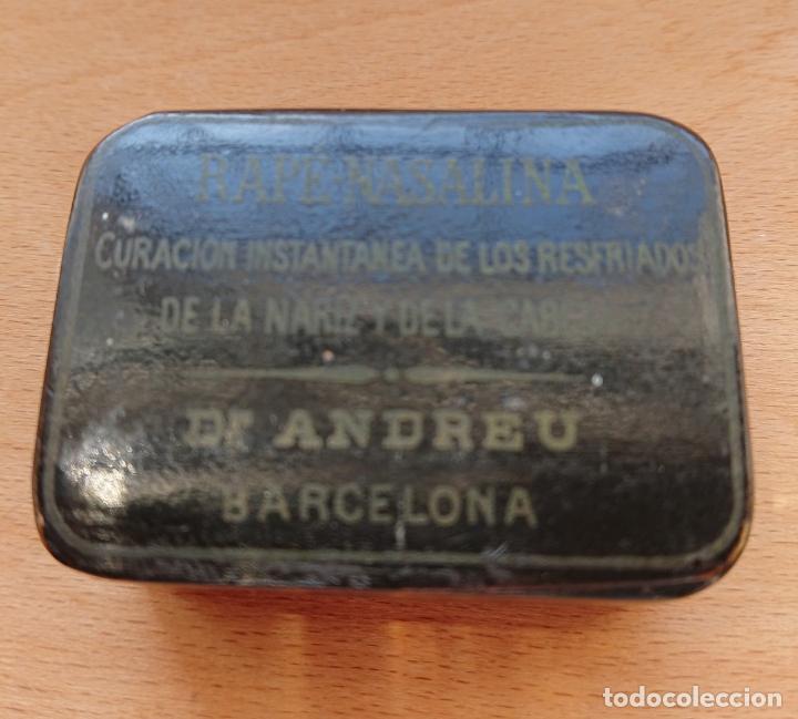 CAJA DE RAPE - NASALINA. DR. ANDREU. PAPIER MACHE (Coleccionismo - Cajas y Cajitas Metálicas)