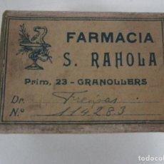 Boîtes et petites boîtes métalliques: ANTIGUA CAJA DE MEDICAMENTO - FARMACIA S. RAHOLA, GRANOLLERS - DR FREIXAS - PRINCIPIOS S. XX. Lote 199086697