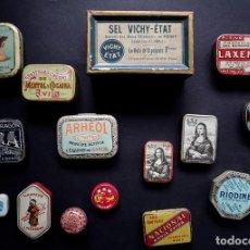Cajas y cajitas metálicas: LOTE DE 15 CAJAS METÁLICAS S. XIX. Lote 199417745