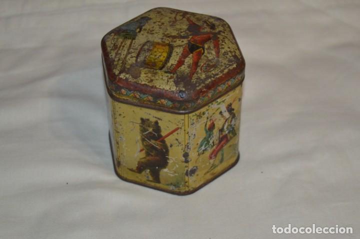 Cajas y cajitas metálicas: Vintage - Antigua CAJA / LATA DE HOJALATA - Forma HEXAGONAL - PRECIOSA / Muy, muy ANTIGUA - ¡Mira! - Foto 4 - 199766156