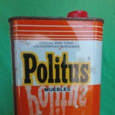 Cajas y cajitas metálicas: ANTIGUA LATA POLITUS MUEBLES ÚNICA EN TC. (VER FOTOS). Lote 202492011