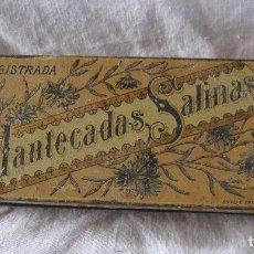 Cajas y cajitas metálicas: ANTIGUA CAJA DE HOJALATA MANTECADAS SALINAS TUDELA (NAVARRA) 4 X 20,5 X 7 CM. Lote 202787532