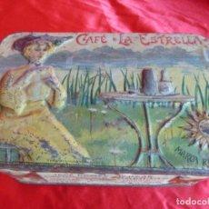 Cajas y cajitas metálicas: ANTIGUA Y RARA LATA LITOGRAFIADA-CAFÉ LA ESTRELLA-JOSÉ GÓMEZ TEJEDOR-BADAJOZ-ORIGINAL PP S. XX. Lote 203327267