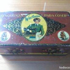 Cajas y cajitas metálicas: CAJA METÁLICA MÁQUINAS PARA COSER WETHEIM - BARCELONA. Lote 203776392