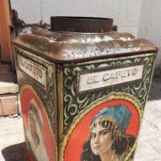 Cajas y cajitas metálicas: LATA GRANDE LITOGRAFIADA EL CAFETO MOKA C. SIMÓN MARTÍNEZ MADRID 40 CM ALTO. Lote 206467327