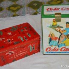Cajas y cajitas metálicas: COLA-CAO / COLA CAO / LOTE 2 CAJAS ANTIGUAS, FORMATOS Y ÉPOCAS DIFERENTES / SEMOLA Y LABORES ¡MIRA!. Lote 206926651