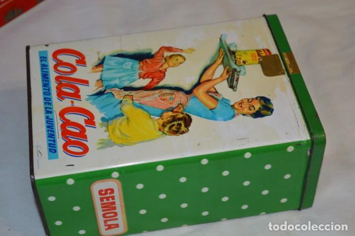 Cajas y cajitas metálicas: COLA-CAO / COLA CAO / Lote 2 cajas antiguas, formatos y épocas diferentes / SEMOLA y LABORES ¡Mira! - Foto 2 - 206926651