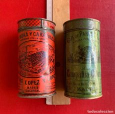Cajas y cajitas metálicas: DOS CAJAS HOJALATA CAFE . MATIAS LOPEZ . COMPAÑIA COLONIAL . CON LAS TAPAS .. Lote 207340985