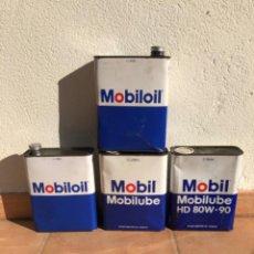 Cajas y cajitas metálicas: LOTE LATAS ACEITE MOBIL MOBILOIL DE 2 LITROS.. Lote 207354953