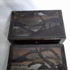 Cajas y cajitas metálicas: JUEGO DE DOS ANTIGUAS CAJAS DE MADERA DE FILIPINAS NEGRAS.. Lote 158385042