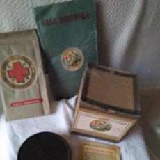Cajas y cajitas metálicas: ANTIGUO LOTE DE FARMACIA CAJAS, PAQUETES Y PARCHE SOR VIRGINIA. Lote 208012855