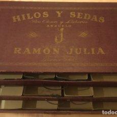 Cajas y cajitas metálicas: CAJA CAJONES PARA CARRETES HILOS Y SEDAS COSER Y LABORES RAMON JULIA BARCELONA 37 X 22 X 14 CM. Lote 210311635